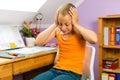 Family - child doing homework Royalty Free Stock Images