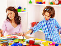 Family with child painting children in school education Royalty Free Stock Image