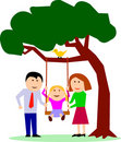 Family with child on swing Stock Image