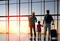Family with children at the airport Royalty Free Stock Photo