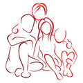 Family with children illustration of parents son and daughter Royalty Free Stock Photography