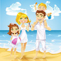 Family with children on ocean beach sunny Royalty Free Stock Photos