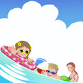Family with children at sea on summer holiday file contains gradients gradient mesh envelope distort Stock Photos