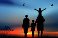 Family with children walk on a sunset Stock Photography