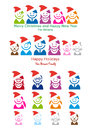 Family Christmas card, vector people icon set Royalty Free Stock Photography