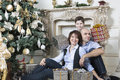 Family christmas a happy is celebrating Royalty Free Stock Photo