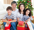 Family Christmas portrait Royalty Free Stock Photo
