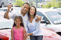 Family collecting new car Royalty Free Stock Photo