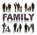 Family conceptual background with silhouettes Stock Images