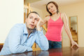 Family conflict. Tired man listening to his angry wife Royalty Free Stock Photo
