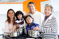 Family cooking at home Royalty Free Stock Photos