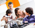 Family cooking together Stock Photography