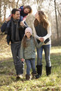 Family on country walk in winter Royalty Free Stock Photo
