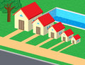 Family cute houses pool lawn Stock Photo