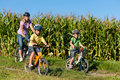 Family is cycling in summer Stock Images