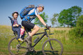 Family cycling in summer father with daughter Royalty Free Stock Photo