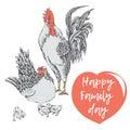 Family day of chicken birds