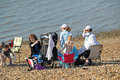 Family day out this photo shows a on whitstable beach this photo could be used to promote whitstable beach Royalty Free Stock Photography
