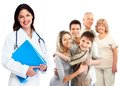 Family doctor woman health care smiling medical background Royalty Free Stock Image