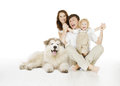Family and dog, happy smiling father mother and laughing child