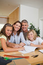 Family doing homework together Stock Photos