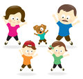 Family doing jumping jacks illustration of a happy Royalty Free Stock Photos
