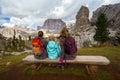 Family at the Dolomites Royalty Free Stock Photo