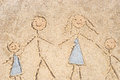 Family drawing in sand Royalty Free Stock Photo