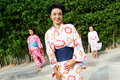 Family dressed in kimono. Royalty Free Stock Photos