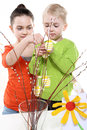 Family easter children boy and girl painting eggs Royalty Free Stock Image
