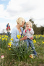 Family On Easter Egg Hunt In Daffodil Field Royalty Free Stock Photo