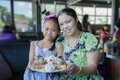 Family eat honey toast mother and daughter in restaurant Stock Photos