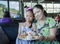 Family eat honey toast mother and daughter in restaurant Royalty Free Stock Photos
