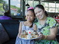 Family eat honey toast mother and daughter in restaurant Stock Photography