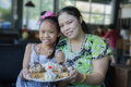 Family eat honey toast mother and daughter in restaurant Royalty Free Stock Photography