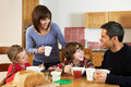 Family Eating Breakfast Together Stock Photos