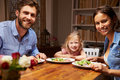 Family eating dinner at a dining table, looking at camera Royalty Free Stock Photo
