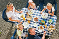 Family eating in the garden Royalty Free Stock Image