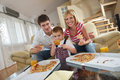 Family eating pizza Royalty Free Stock Images