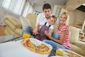 Family eating pizza Stock Photography