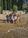 Family enjoy on sand beach Royalty Free Stock Photos
