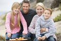 Family Enjoying A Beach Barbeque Stock Photo