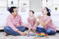 Family enjoying leisure time at home Royalty Free Stock Photo