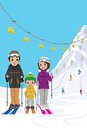 Family enjoying ski resort vector illustration of Royalty Free Stock Photos