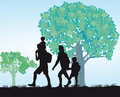 Family excursion illustration of a in black silhouette on a walking along a tree lined path Royalty Free Stock Photography
