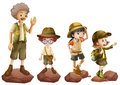 A family of explorers illustration on white background Royalty Free Stock Photos
