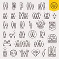 Family. Family icons set. Thin line people and family vector icons Royalty Free Stock Photo