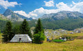 Family farm view of on countriside near rikavacko lake in komovi mountains montenegro Stock Photo