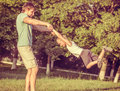 Family Father Man and Son Boy playing Outdoor Royalty Free Stock Photo