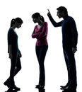 Family father mother daughte dispute reproach silhouette Stock Photography